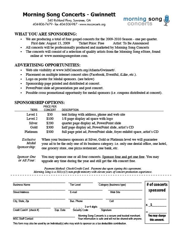 sponsorship sheet